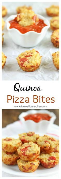 Use up leftover quinoa with these fun and easy quinoa pizza bites. Kid friendly and they make a great snack or appetizer! Use up leftover quinoa with these fun and easy quinoa pizza bites. Kid friendly and they make a great snack or appetizer! Yummy Recipes, Baby Food Recipes, Appetizer Recipes, Snack Recipes, Cooking Recipes, Pizza Recipes, Easy Cooking, Healthy Cooking, Recipies