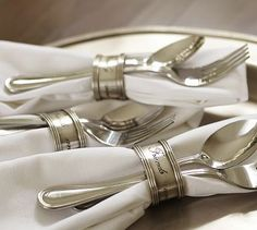 Antique-Silver Napkin Ring, Set of 4 #potterybarn.  A good idea for displaying napkins, flatware for a buffet.  Wrap all together - grab and go ready!