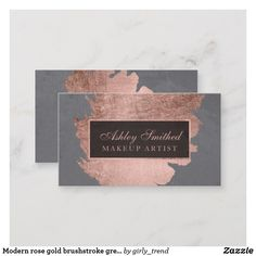 Shop Modern rose gold brushstroke grey cement makeup business card created by girly_trend. Makeup Business Cards, Business Cards Layout, Salon Business Cards, Gold Business Card, Elegant Business Cards, Cool Business Cards, Business Logos, Creative Business, Makeup Artist Logo