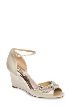 ff2a149ad3 Image of Badgley Mischka Malorie Embellished Wedge Sandal Dress Sandals, Wedge  Sandals, Bridal Shoes