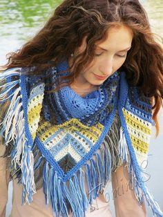 "Knit shawl ""Lapis lazuli"" (knitted shawl, entrelac, modular shapes, granny squares, knitting patchwork)"