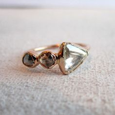 rough diamond trio in rose gold. Oh Boy -(this is what I want to replace my lost wedding ring!)