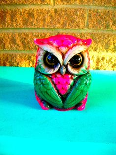 Pink Green Owl Piggy Bank Ceramic Knick Knack Collectable Home Decor. , via Etsy.