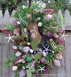 Gorgeous Wreath  ETSY  Elegant Mermaid Beach Wreath with wood by CarmelasCoastalCraft