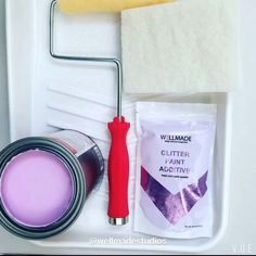 Painting Videos, Painting Process, Glitter Paint Additive, Glitter Grout, Purple Walls, Diy Videos, Studios, Instagram, Grey