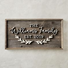 Celebrate the union of a new family. Crafted by the husband-and-wife team of HarperGrayce, this framed sign is constructed from reclaimed fence wood and personalized with elegant hand-cut calligraphy. The one-of-a-kind decoration makes a memorable… Family Name Signs, Last Name Signs, Wooden Family Name Sign, Last Name Wood Sign, House Name Signs, House Names, Signs About Family, Family Wood Signs, Established Family Signs