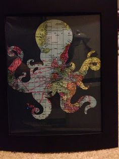 Octopus Frame Print for a Pirate Room - cut out any animal shape that you like, then lay on top of a fun print paper and you've got a cute, easy decoration for a kids room.