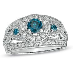 1 CT. T.W. Blue and White Diamond Vintage-Style Engagement Ring