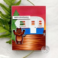 Happy Camping with Hero Arts Hero Arts Cards, Good Day To You, Bear Images, Copic Sketch Markers, Family Birthdays, Die Cut Cards, Copics, Folded Cards, Easy Projects