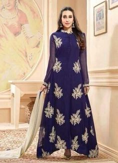 Karishma Kapoor Navy Blue Bollywood Anakali  Suit http://www.angelnx.com/
