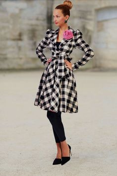 *classic pleated coat with waist drawstring*   • coat below the knee • arched on the waist • drawstring closure • romantic & feminine look • shoulder pleats accentuated • floral application...