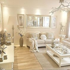 Luxurious And Elegant Living Room Design Ideas Cream Living Room Decor, Glam Living Room, Elegant Living Room, Cozy Living Rooms, Home And Living, Cream Sofa Living Room Color Schemes, Modern Living, Cream And White Living Room, Glam Bedroom