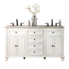 Home Decorators Collection Hamilton 61 in. W x 22 in. D Double Vanity in Antique White with Granite Vanity Top in Beige-0567200410 - The Home Depot