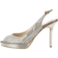 Pre-owned Jimmy Choo Glitter Slingback Pumps ($125) ❤ liked on Polyvore featuring shoes, pumps, gold, glitter pumps, glitter shoes, glitter peep toe pumps, peep toe slingback shoes and buckle shoes