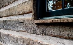 Pioneer Log Siding handcrafting distresses new boards that appear aged historic square logs when installed. Siding Cost, Cabin Homes, Log Homes, Log Cabin Siding, Log Cabins, Mountain Cabins, Rustic Cabins, Interior Window Trim, Home