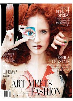 jessica chastain by george condo on W Magazine Jan 2013