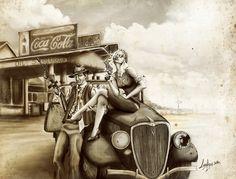 """Death car """"Bonnie& Clyde"""" by Lorena Assisi, via Behance"""
