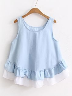 SheIn offers Contrast Hem Layered Ruffle Tank Top & more to fit your fashionable needs.Shugo Wynne Mori Girl Doll Shirt 2017 Summer New Women Cute O-neck Sleeveless Ruffles Hem Casual Shirt Blue Lovely Girl TopsDesigner Clothes, Shoes & Bags for Wom Frock Design, Baby Girl Fashion, Kids Fashion, Fashion Outfits, Dresses Kids Girl, Kids Outfits, Kids Frocks, Pretty Outfits, Blouse Designs