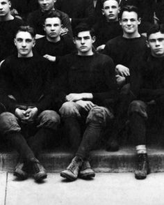 Ernest Hemingway, center, photographed for the Oak Park High School football team November 1915