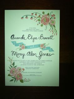 By Loft Life Press on Etsy (budget friendly alternative) in the style of Rifle Paper Co. invitations - from Huffington Post Real Wedding Inspiration: Invitations