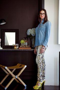 Denim shirt with snakeskin pants. LOVE