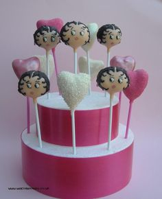 Cupcakes Take The Cake: Betty Boop and red rose pops plus a cake pop cake!