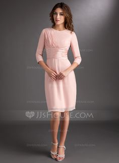 Sheath/Column Scoop Neck Knee-Length Chiffon Charmeuse Mother of the Bride Dress With Ruffle (008006836) - JJsHouse