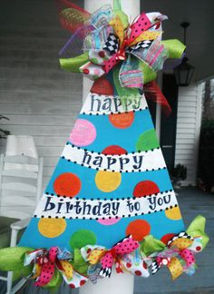 happy birthday, wreath, ORIGINAL..aDOORable aDOORnments...whimsically designed DOOR jewelry , door hanger, birthday party, paper products. $49.95, via Etsy.