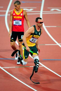 London 2012 - South Africa's 4x400m relay team was already running in last position before passing the baton to Oscar Pistorius, who runs anchor on prosthetic legs finishing last in the final but recording a season's best time for his team.  2012 Getty Images