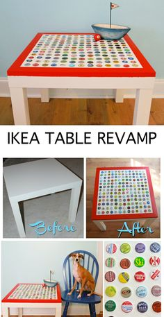 Ikea Table Revamp with bottle caps... PERFECT idea for all my bottle caps! And they have a Lucy!!!
