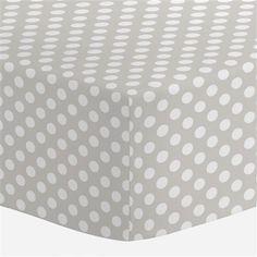 French Gray and White Dot Crib Sheet