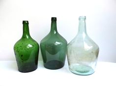 Vintage Demijohn Carboy Set Large Wine Green Clear Glass Bottles Rustic Carrier Primitive Antiques Hand Blown Vase Farmhouse Kitchen Decor by WoodHistory on Etsy