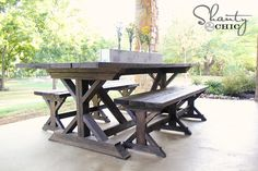 outdoor farmhouse (PICNIC) table and benches. THIS is what I would like ours to look like. MUCH prettier *I* think. Directions how to build. Parts $140.