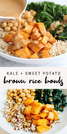 Make yourself this crazy delicious vegan. Make yourself this crazy delicious vegan brown rice bowl with roasted sweet potatoes kale and chickpeas all coated in a savory peanut sauce. 18 grams of protein and 20 grams of fiber per bowl! Sweet Potato Kale, Roasted Sweet Potatoes, Potato Rice, Pasta With Sweet Potato, Vegan Recipes With Sweet Potatoes, Dinner With Sweet Potatoes, Vegan Brown Rice Recipes, Recipes With Kale, Kale Recipes Vegan