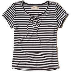 Hollister Lace-Up Slim Ribbed T-Shirt (56430 PYG) ❤ liked on Polyvore featuring tops, sweaters, blusas, hollister, black stripe, lace-up tops, slimming tops, laced tops, lace up front top and slim sweaters