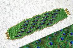 peacock herringbone bracelet