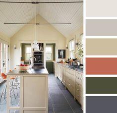 Warm grey, griege, cream, rusty orange, peach, olive, grey color palette in a Cape Cod Saltbox.   Photographer: Virginia Macdonald   Designer: Architect, Dan Costa