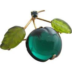 Luscious Austrian Style Green Fruit Glass Pin