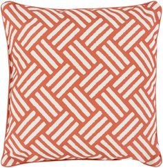 """Basketweave 16"""" Outdoor Pillow in Rust & Ivory design by Surya"""