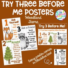 Try Three Before Me Posters (Ask Three) Woodland Animal Theme Clip Art Woodland Animals Theme, Clip Art, Classroom, Posters, This Or That Questions, Class Room, Poster, Postres, Banners