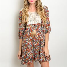 New Wildflower Crochet Boho Dress New with tag, rayon. Dresses Mini