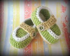 Lime Loafers  Crocheted Baby Boys Shoe with Vintage by FrivolTees, $20.00