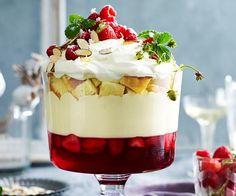Classic Christmas trifle recipe - By Australian Womens Weekly, This traditional Christmas dessert is absolutely divine, layered with fresh strawberry and raspberry jelly, creamy mascarpone custard and sherry soaked sponge cake. Christmas Trifle, Christmas Treats, Christmas Lunch Ideas, Christmas Biscuits, Christmas Foods, Christmas Cakes, Christmas Parties, Christmas Christmas, Xmas Food
