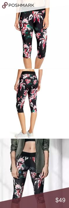 Athleta Derek Lam Capri Leggings Black Floral NWT Derek Lam Athleta IOC Lily Chelsea Capri Pants Black Floral Print   Style# 231600 from the Summer 2016 collection.  78% polyester/22% Spandex.  New with tag. Brand name crossed out. Athleta Pants Leggings