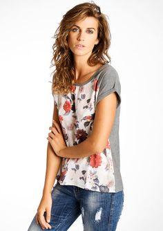 T-shirt met korte mouwen en bloemenprint, LolaLiza