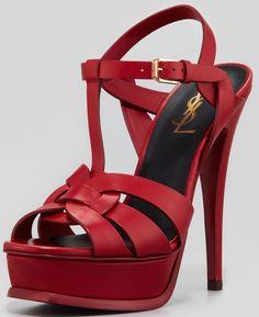 Saint Laurent 'Tribute' High-Heel Sandals in Red