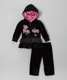 Look at this #zulilyfind! Black Ruffle Zip-Up Hoodie & Sweatpants - Infant, Toddler & Girls #zulilyfinds