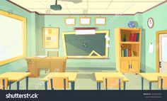 Vector cartoon background with empty school classroom interior inside Education concept illustratio in 2020 Classroom interior School illustration Cartoon background
