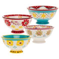 4-piece stoneware bowl set with an artful floral motif.    Product: 4-Piece bowl set Construction Material: Ston...