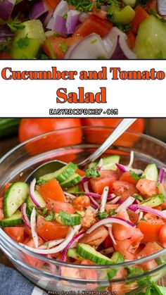 An amazing Cucumber Tomato Salad, plus a quick and easy is your perfect choice for a salad full of freshness and cover all your summer needs. Healthy Salad Recipes, Healthy Breakfast Recipes, Brunch Recipes, Vegetarian Recipes, Dinner Recipes, Easter Recipes, Weeknight Recipes, Healthy Eats, Holiday Recipes